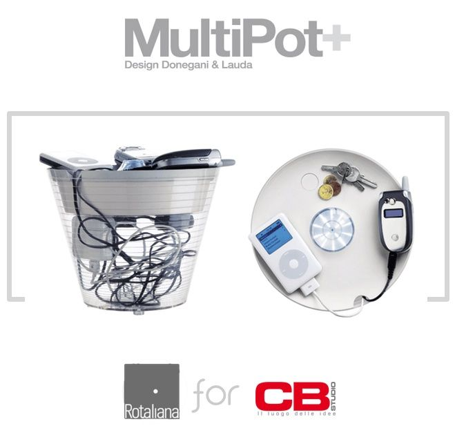 MultiPot is Rotoliana's #famous #multifunctional #lamp. Dimension: dm 19/23,5 x h 19 cm.  http://bit.ly/1lQwynh #design #useful #technology #home #office #light