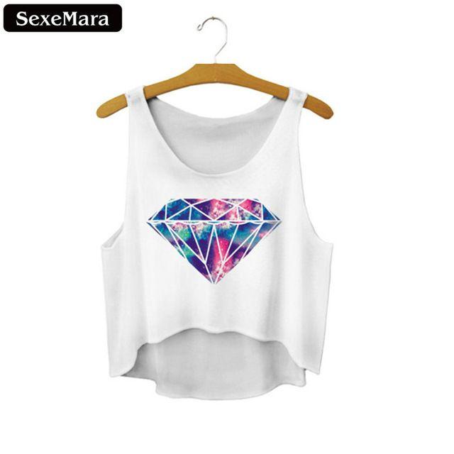 SexeMara 2016 Diamante Colorido Impreso Recortada Tank Top Moda Nuevo Estilo Atractivo Lindo Mujeres Sueltan Crop Tops F826 de Ventilación
