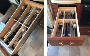 DIY RV Kitchen Drawer Organizers for $10 – Just a Little Wood and Glue. Why do drawers enventually overflow with stuff? Try this simple DIY idea for your much need RV kitchen drawer organizers. All for around $10....