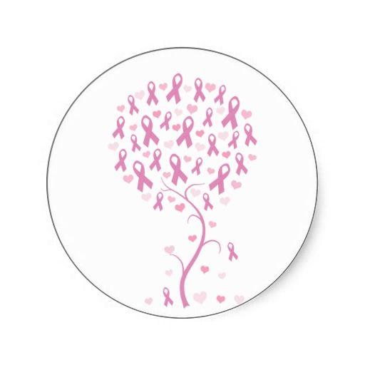 Pink Ribbon Tree Stickers