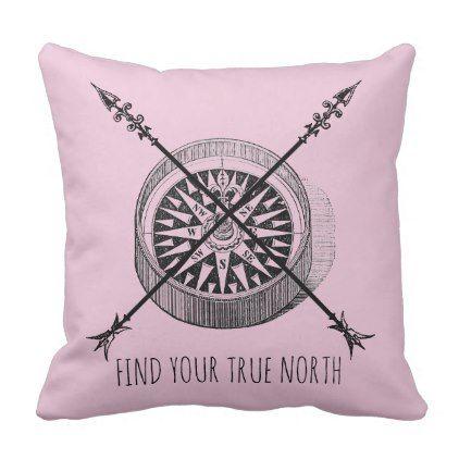True North Compass Throw Pillows - home decor design art diy cyo custom