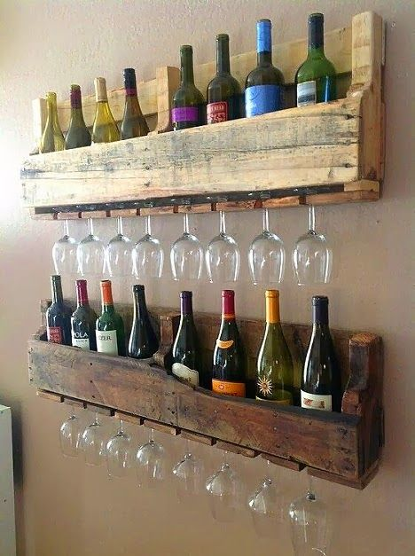 Love this idea. Use reclaimed #pallets to make rustic shelving for your #wines and wine glasses. #decorating
