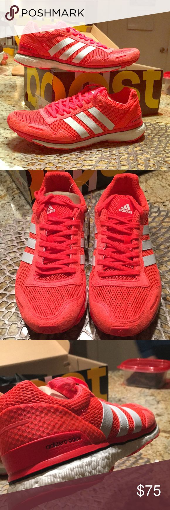 Brand new adidas adios light-weight shoe! These shoes are bright orange, they look reddish in the photos. Great light-weight running /training show with boost technology sole. adidas Shoes Athletic Shoes