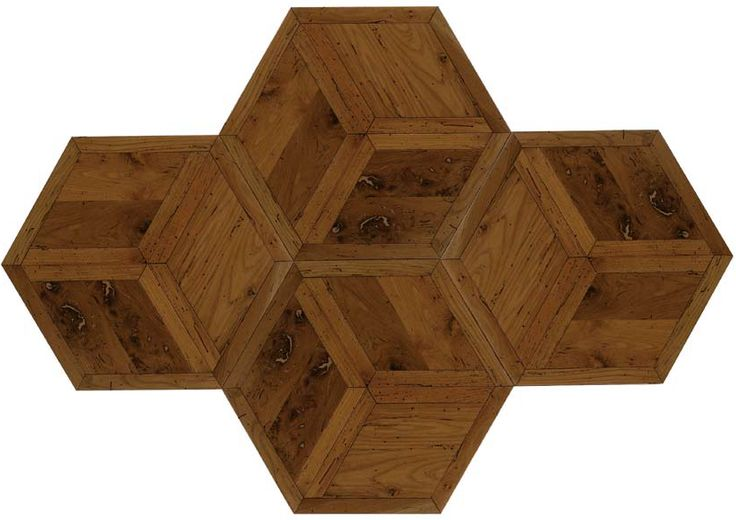 Reclaimed wood in 3 layer hexagon pattern