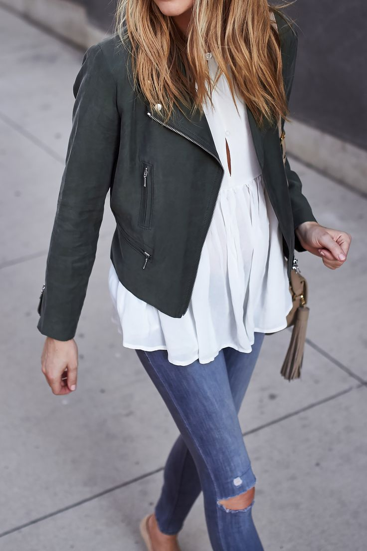 Fashion Jackson // Club Monaco Kapri Moto Jacket, Sincerely Jules Blouse, Ripped Skinny Jeans @clubmonaco @nordstrom