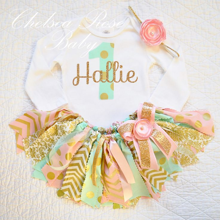 Pink, Mint and Gold Fabric tutu outfit~ First Birthday tutu set~ Shabby Chic Birthday Outfit~ Pink Mint Gold Birthday~ Birthday~ baby girl by ChelseaRoseBaby on Etsy https://www.etsy.com/listing/220017325/pink-mint-and-gold-fabric-tutu-outfit