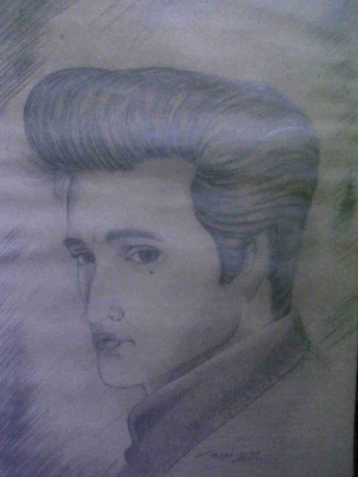 Elvis Presley Carboncillo sobre papel 80x60 cm