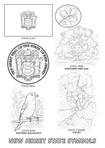 New Jersey State Symbols Coloring page (With images