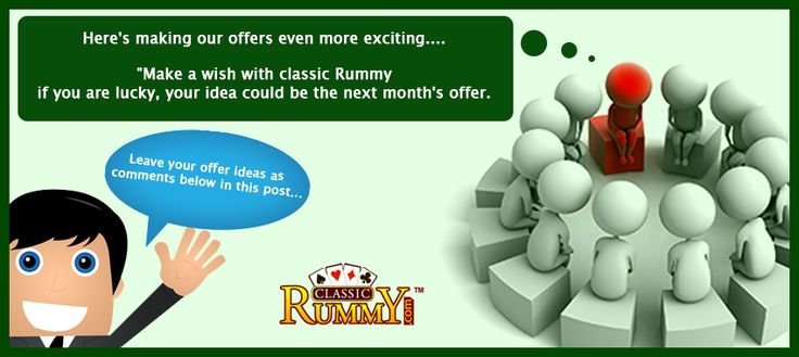 "It's time for Fan Connect..... Here's making our offers even more exciting.... ""Make a wish with classic Rummy if you are lucky, your idea could be next month's offer Here is how you do it: 1.Like us on ‪#‎facebook‬ 2.Leave your offer ideas a comment below in this post... https://www.classicrummy.com?link_name=CR-12 Keep it moving happy Monday! ‪  #rummy‬ #classicrummy‬ #offers‬ #rummyoffers‬ #monday‬ #onlinerummy"