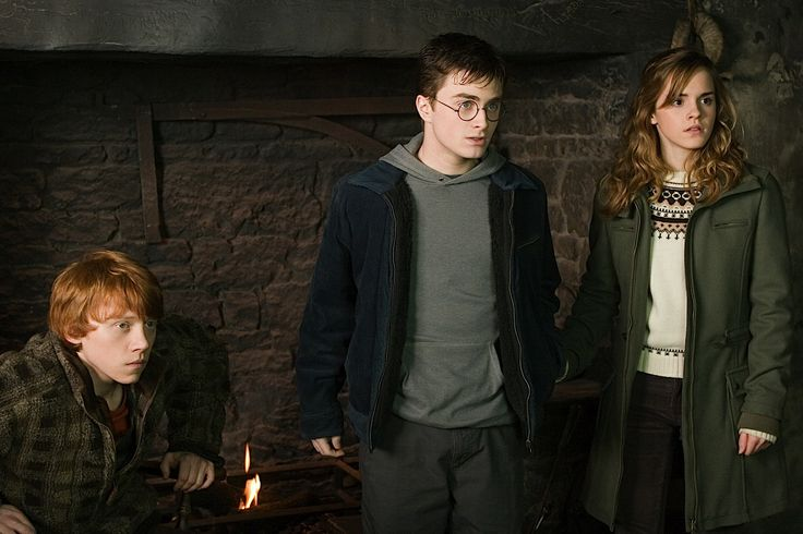 The beginning of The DA. Harry Potter, movie. Harry, Ron Weasley and Hermoine Granger. 3-some. Photo