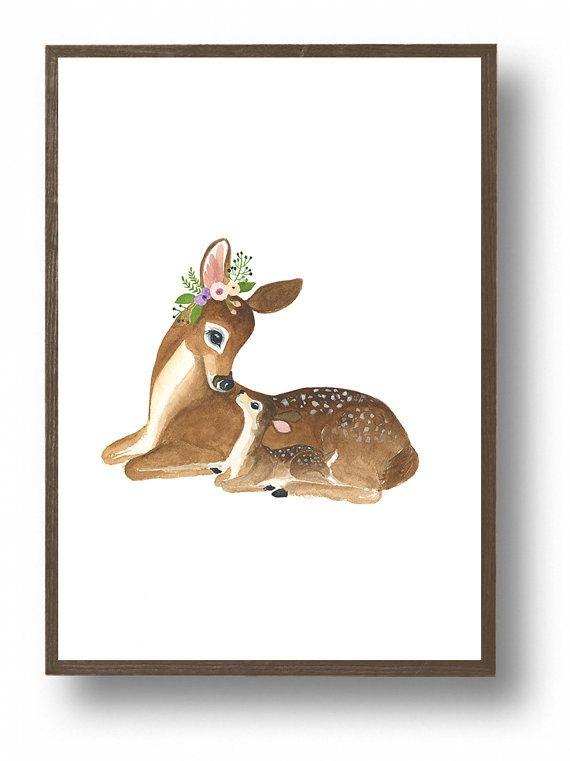 Je taime petit one cerf aquarelle Woodland pépinière par zuhalkanar