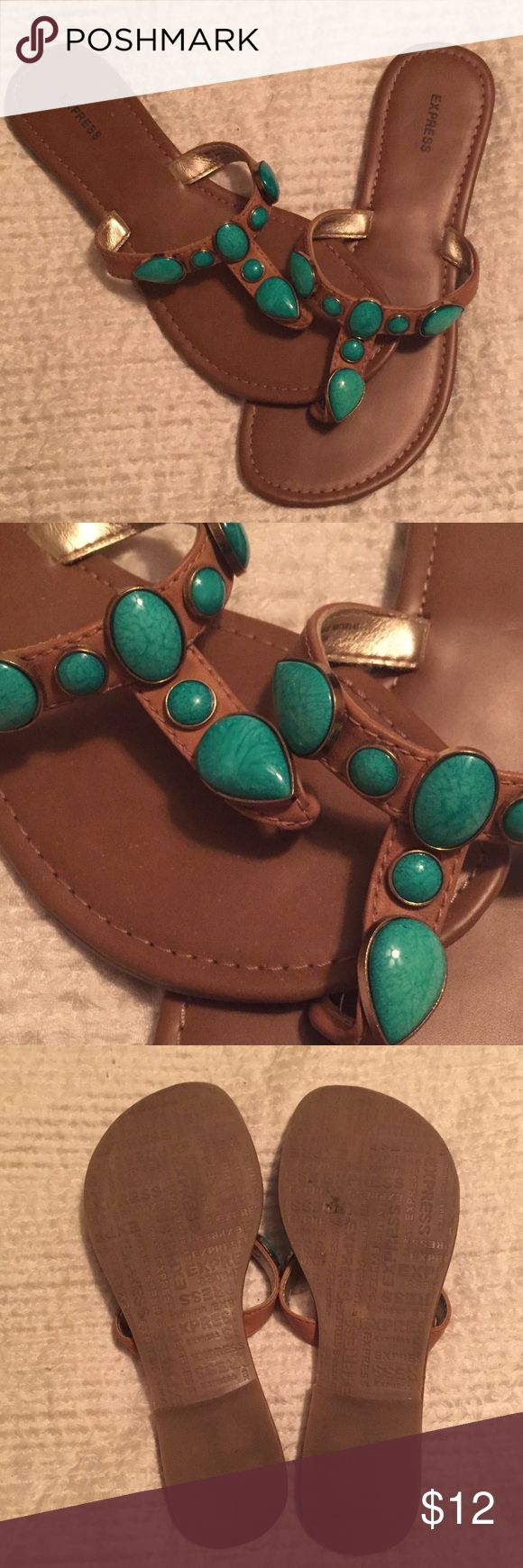 Express turquoise sandals  Adorable turquoise stone sandals, gently worn. In very good condition. Perfect for spring and the beach. Express Shoes Sandals