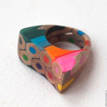 """Colored pencils ring / Кольца ручной работы. Ярмарка Мастеров - ручная работа. Купить Деревянное колечко """"Цветные карандаши"""". Handmade. Комбинированный, цветные карандаши"""