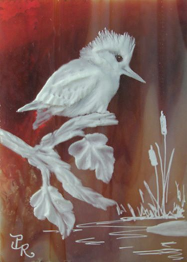 Bird Kingfisher Sculpted Cameo on Stained Glass ACEO
