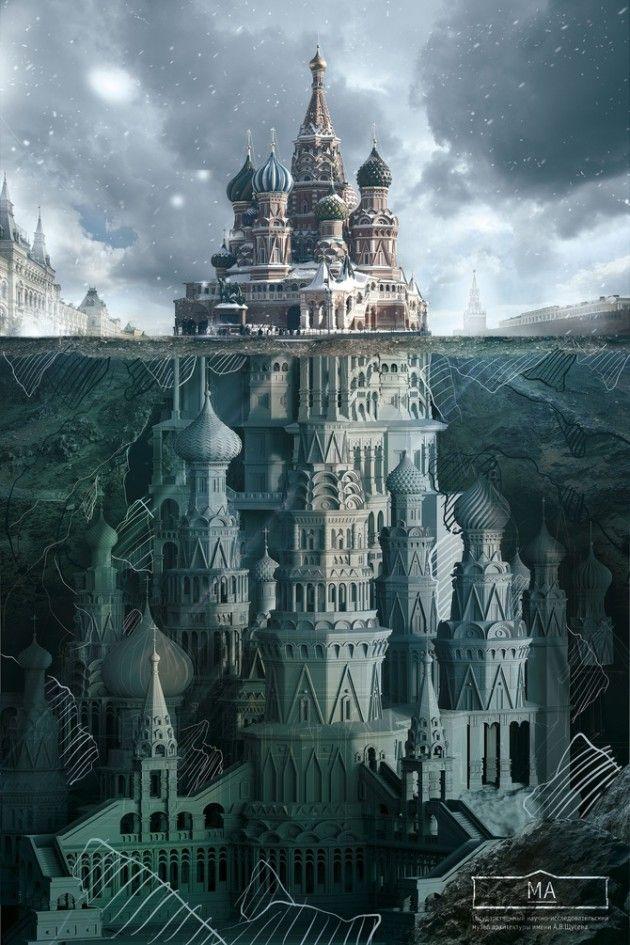 Illustration pour le Shchusev State Museum of Architecture de Moscou par l'agence SAATCHI & SAATCHI Source : larecclame.fr