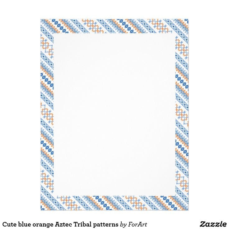 Cute blue orange Aztec Tribal patterns Letterhead