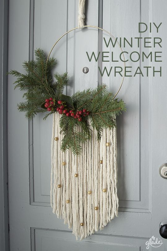 Greet friends with the joy of the season by making your very own modern wreath. All you need is some spruce, yarn, and little bit of joy. It's a DIY that warms the hearts of every holiday guest. See how to make this for yourself.