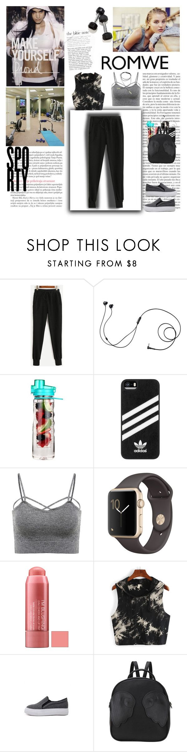 """""""Romwe! - Black Drawstring Waist Pants!!!"""" by miss-maca ❤ liked on Polyvore featuring Marshall, NIKE, Urban Outfitters and adidas"""