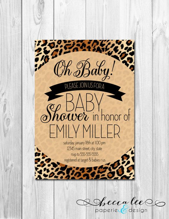 Oh Baby Animal Print Baby Shower Invitation - Brown Cheetah Leopard Print - DIY - Printable
