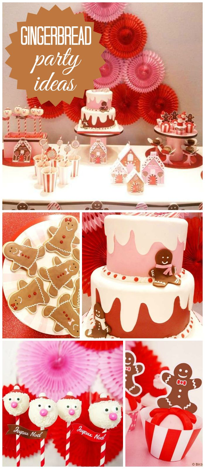 A cute gingerbread candyland Christmas party with cupcakes, cake pops, candy  and gingerbread cookies! See more party planning ideas at CatchMyParty.com!