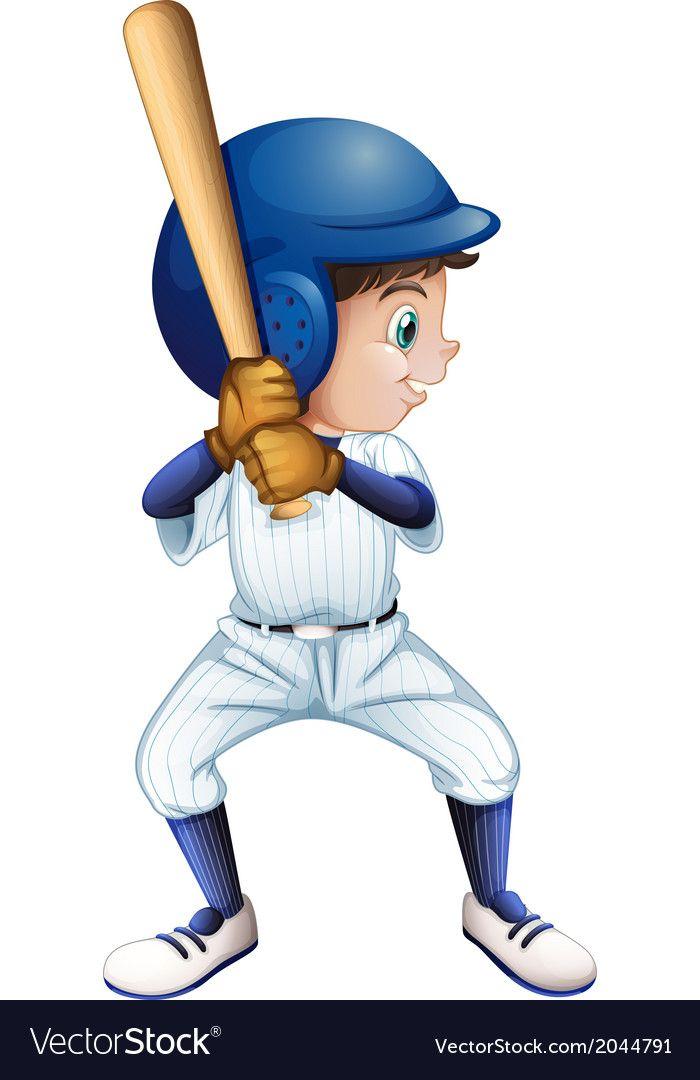 A Young Male Baseball Player Royalty Free Vector Image Baseball Players Charity Logos Cartoon People
