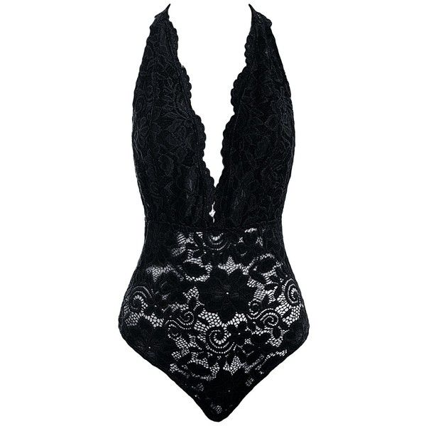 Sans Souci Plunging lace bodysuit ($34) ❤ liked on Polyvore featuring intimates, shapewear and black