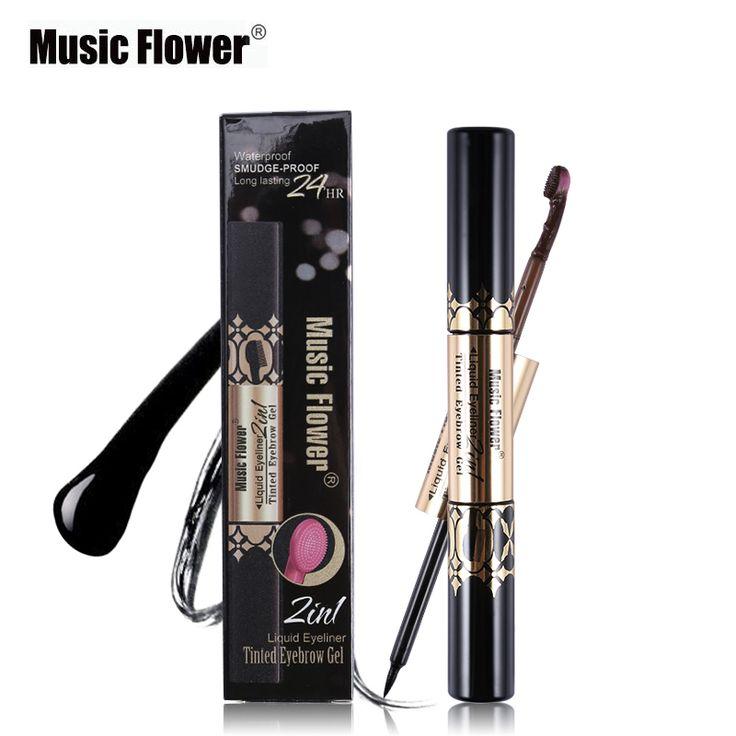 4 Color Music Flower Makeup Eye Liner Brand Black Liquid Eyeliner+Tinted Eyebrow Gel Tint Eye Brow Cream Rain Shower Brush Head