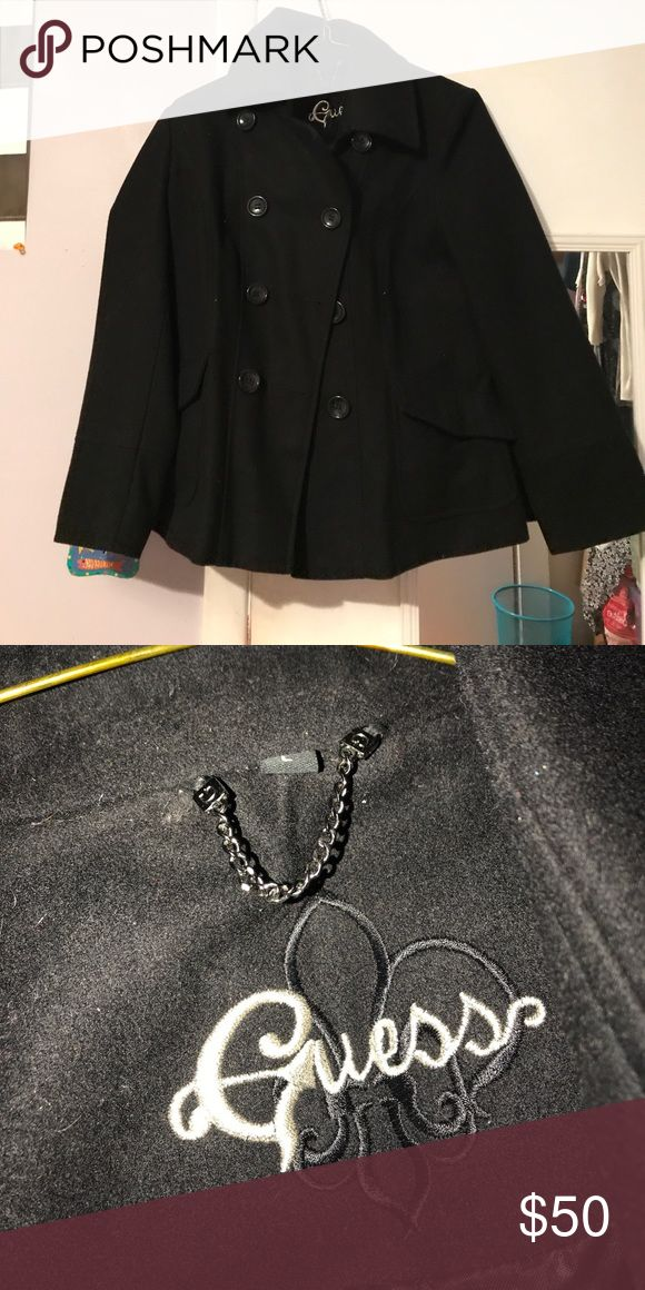 Guess peacoat Cute black guess pea coat size large great for holidays and winter. Guess Jackets & Coats Pea Coats