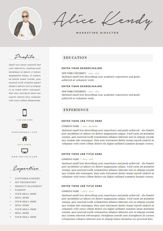 resume template 4 page word diy printable cv par theresumeboutique
