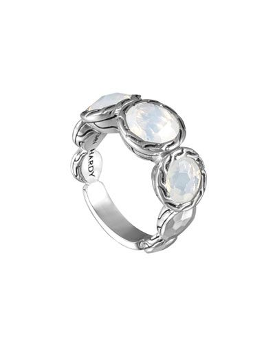 Y2E5A John Hardy Batu Palu Silver Ring with Moon Quartz