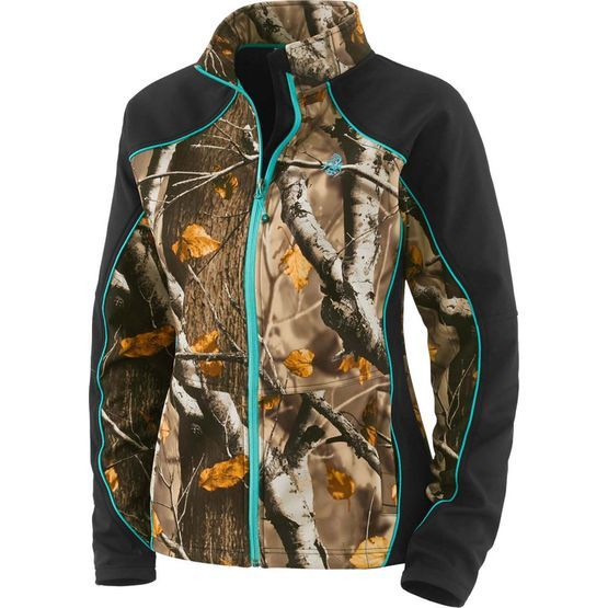 Women's Big Game Timber Creek Softshell Jacket - We brought some Big Game® Camo to our ever-popular women's softshell.  Made from a fantastic micro-weave shell that's wind/water resistant, and breathable with just the right amount of stretch.  Features a cozy soft micro-fleece interior, two large side zippered pockets, and Legendary® Signature Buck embroidery.
