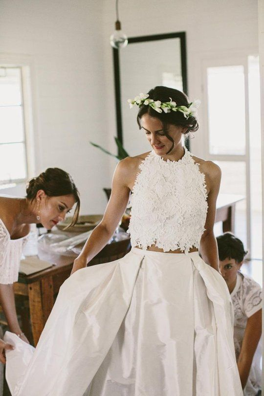 Above and at top: A custom lace halter paired with a raw silk skirt for this Australian bride, captured by Shane Shepherd for The Lane.