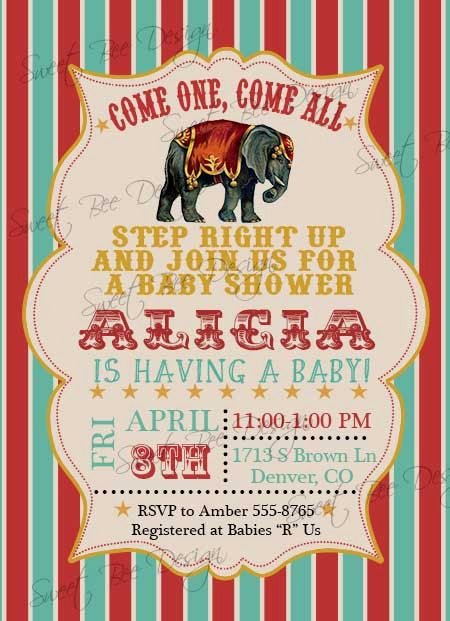 circus baby shower invitation circus by sweetbeedesignshoppe