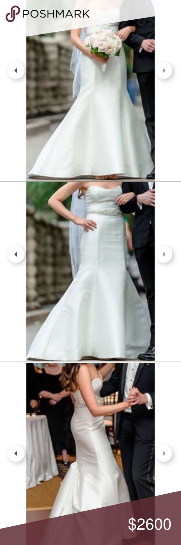 """Amsale Lenox wedding dress. Used 1x but dry cleaned by Chicago's top cleaners and in wonderful condition. Dress values $4800 + tax and comes with detached sleeves and white belt and also includes additional hand made real crystal belt made in Greece (value $990) as shown in my wedding pictures. Designer size 10 - I am 5'10"""" (5'7"""" + 3"""" heels) and 135 lbs - typically wear size 4 or 6 Amsale Dresses Wedding"""