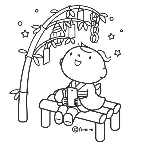 tanabata colouring pages