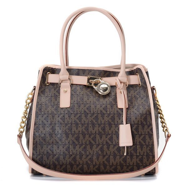 Michael Kors Perforated Logo Large Coffee Totes: -Perforated leather  -Golden color hardware -Top handles -Chained shoulder strap -Hanging  luggage tag with ...