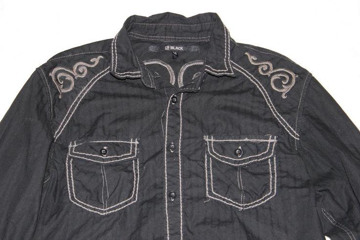 CJ Black M Western Embroidered Button Front Shirt Cowboy Rockabilly Rue 21 B17 #western #Rockabilly #Cowboy