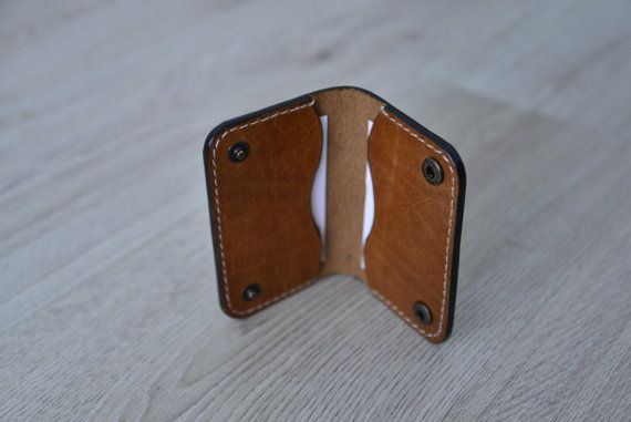 Leather cardholder twofold van NHLdesign op Etsy