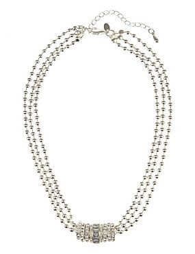 Silver Mix Silver Plated Bead & Diamanté Ring Necklace