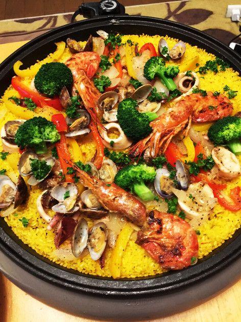 ホットプレートで簡単魚介類のパエリア by Renack [クックパッド] 簡単おいしいみんなのレシピが222万品
