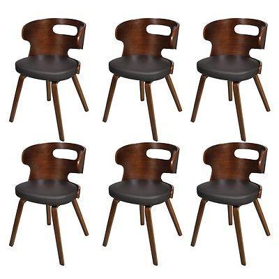 6 x Lederstühle Sessel Esszimmerstühle Sperrholz Leder Stuhl Stühle braun #Ssparen25.com , sparen25.de , sparen25.info