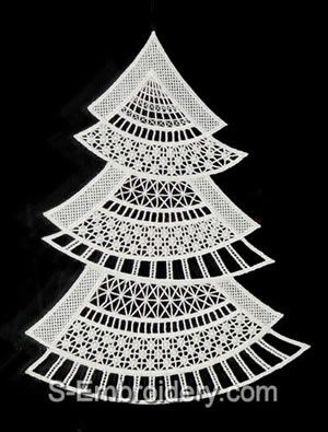 10451 Free standing lace Christmas tree window decoration