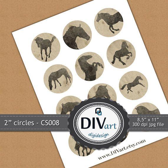 PRINTABLE Collage Sheet CS008  2 circles  Horses  by DIVart, $3.00