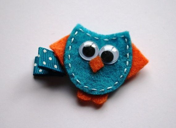Turquoise and Orange Owl Clippie by OneLittleMonkeyShop on Etsy