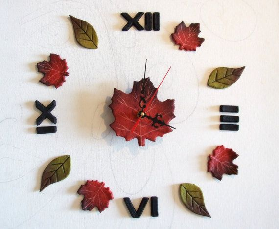 Ecofriendly wall clock Colorful leaves Nature themed Clocks Roman Numerals Gift for married