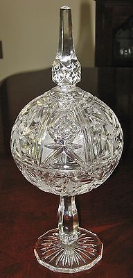 Bohemian Cut Crystal Pedestal Compote Covered Tall Candy ...