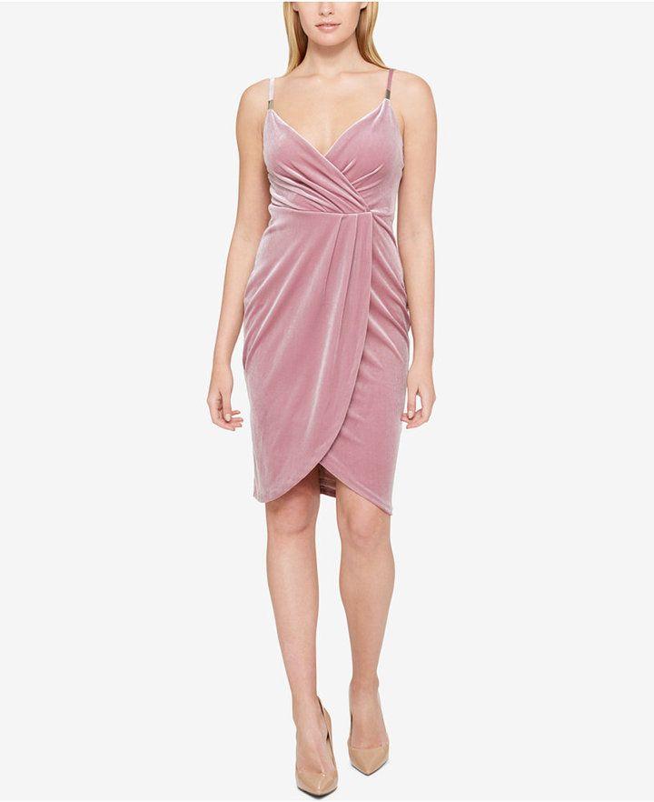 GUESS Draped Velvet Sheath Dress