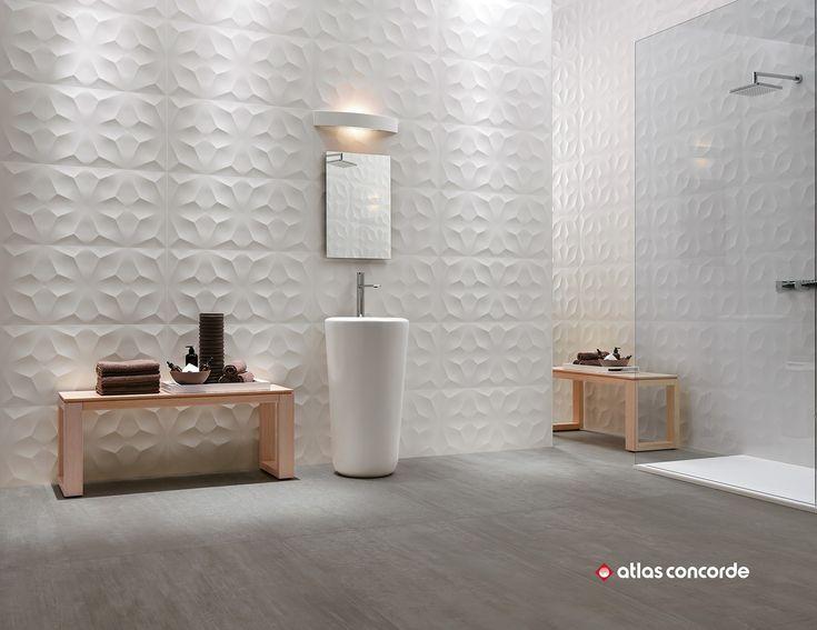 White-paste 3D Wall Cladding 3D WALL DESIGN DIAMOND by Atlas Concorde