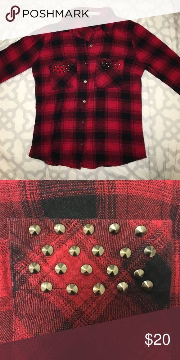 Red & Black Flannel Shirt Red and black flannel shirt, sleeves can be rolled up and held in place with button, pocket detail shown in second picture Tops Button Down Shirts