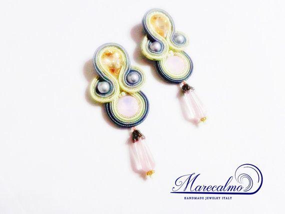 Pink gray Soutache Earrings chandeliers fiber by Marecalmojewels